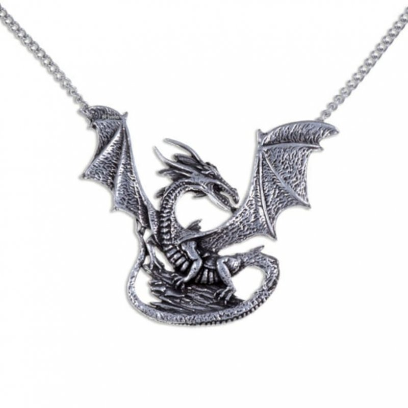 Image 1 of Winged Dragon On Rock Mystical Creature Themed Stylish Pewter Pendant