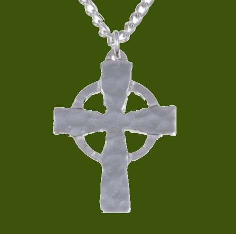 Image 0 of Celtic Cross Plain Hammered Stylish Pewter Pendant