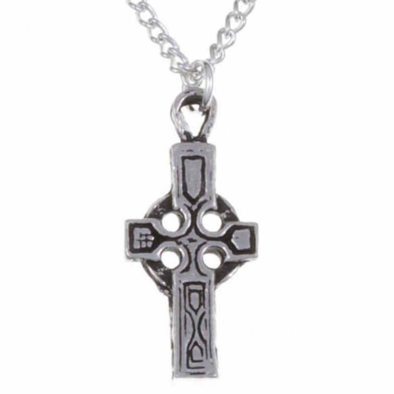 Image 1 of Celtic Cross Engraved Flat Stylish Pewter Pendant