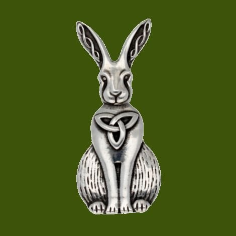 Image 0 of Hare Celtic Open Knotwork Animal Themed Stylish Pewter Brooch