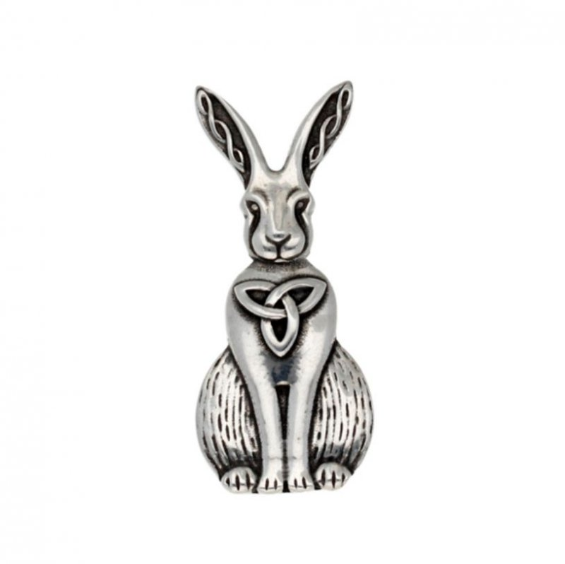 Image 1 of Hare Celtic Open Knotwork Animal Themed Stylish Pewter Brooch