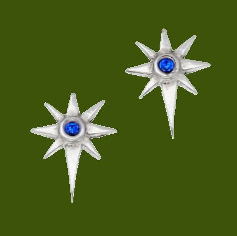 Image 0 of Christmas Star Blue Crystal Small Stud Stylish Pewter Earrings