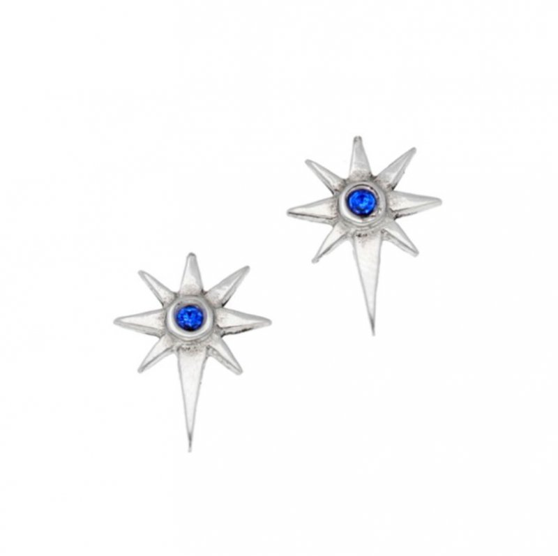 Image 1 of Christmas Star Blue Crystal Small Stud Stylish Pewter Earrings