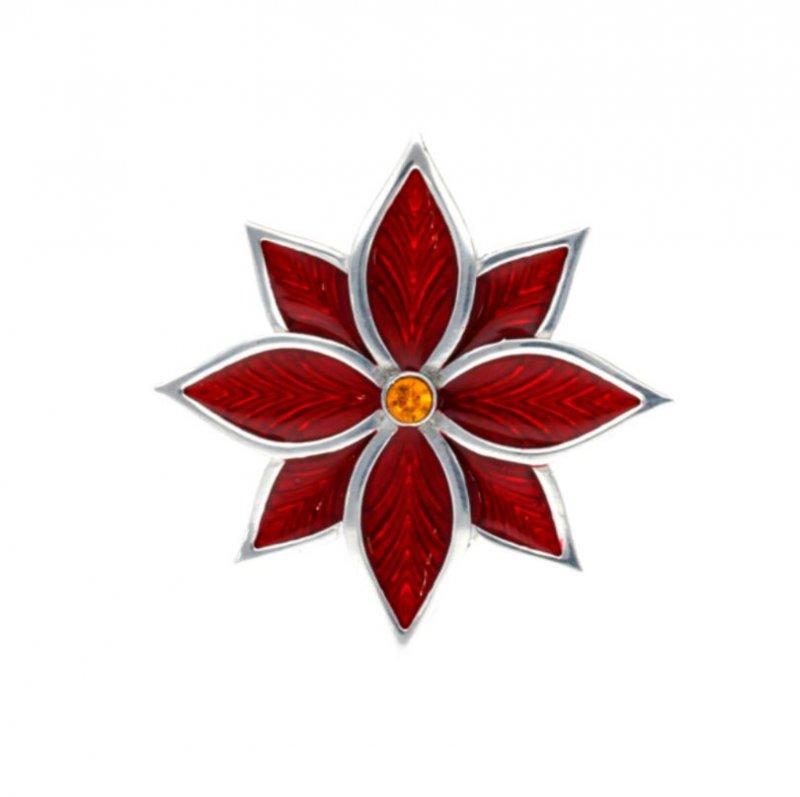Image 1 of Poinsettia Flower Red Enamel Yellow Crystal Stylish Pewter Brooch