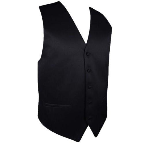 Image 1 of Black Formal Groomsmen Groom Wedding Vest Mens Waistcoat