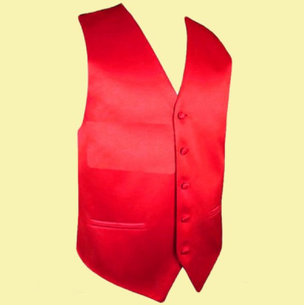 Image 0 of Cherry Red Formal Groomsmen Groom Wedding Vest Mens Waistcoat