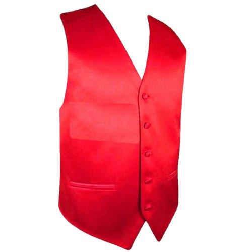 Image 1 of Cherry Red Formal Groomsmen Groom Wedding Vest Mens Waistcoat
