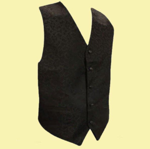 Image 0 of Black On Black Floral Pattern Groom Formal Wedding Vest Mens Waistcoat