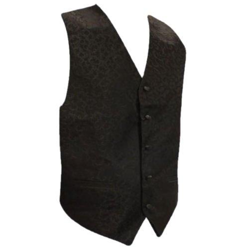 Image 1 of Black On Black Floral Pattern Groom Formal Wedding Vest Mens Waistcoat