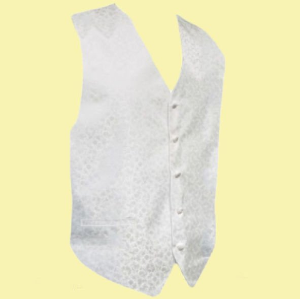 Image 0 of White On White Floral Pattern Groom Formal Wedding Vest Mens Waistcoat