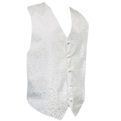 Image 1 of White On White Floral Pattern Groom Formal Wedding Vest Mens Waistcoat