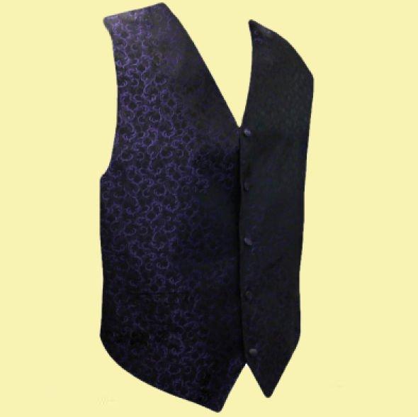 Image 0 of Purple On Black Floral Pattern Groom Formal Wedding Vest Mens Waistcoat