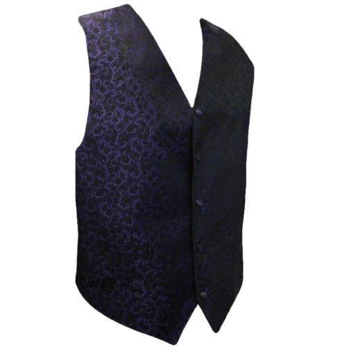 Image 1 of Purple On Black Floral Pattern Groom Formal Wedding Vest Mens Waistcoat