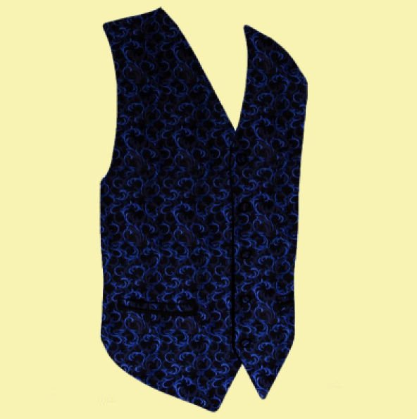 Image 0 of Navy On Black Floral Pattern Groom Formal Wedding Vest Mens Waistcoat