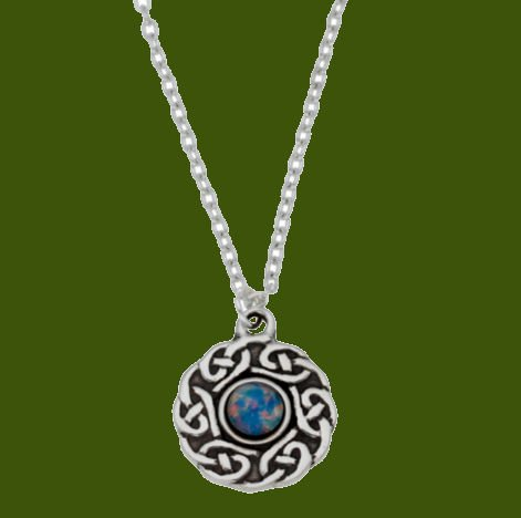 Image 0 of Celtic Knotwork Opal Glass Stone Circular Small Stylish Pewter Pendant