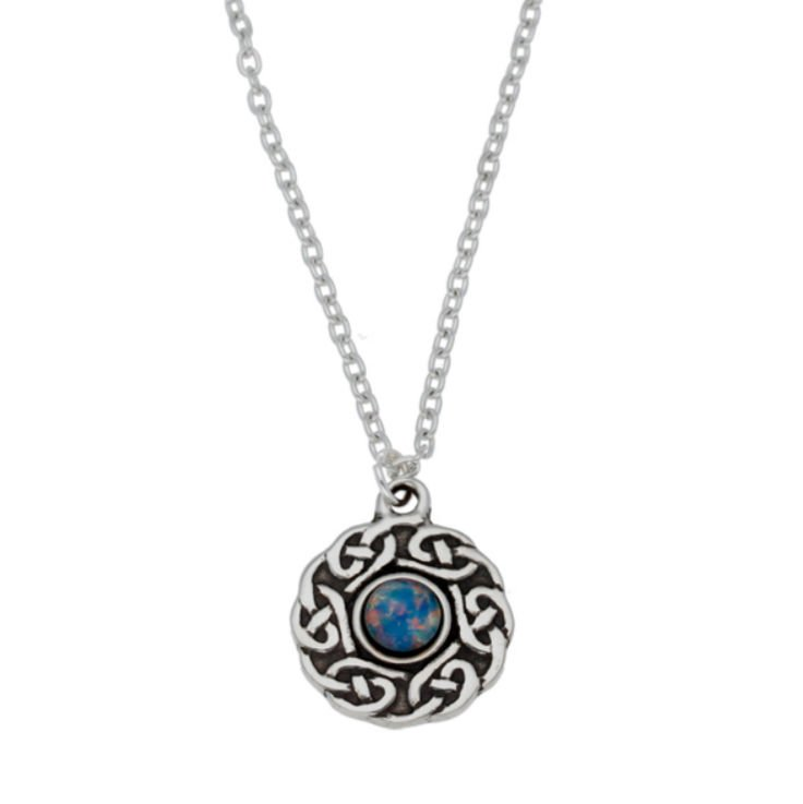 Image 1 of Celtic Knotwork Opal Glass Stone Circular Small Stylish Pewter Pendant