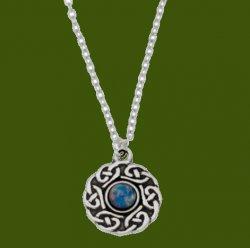 Celtic Knotwork Opal Glass Stone Circular Small Stylish Pewter Pendant