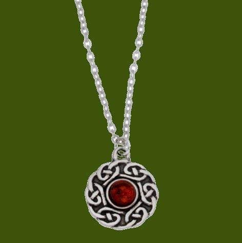 Image 0 of Celtic Knotwork Amber Glass Stone Circular Small Stylish Pewter Pendant