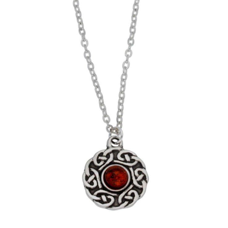 Image 1 of Celtic Knotwork Amber Glass Stone Circular Small Stylish Pewter Pendant