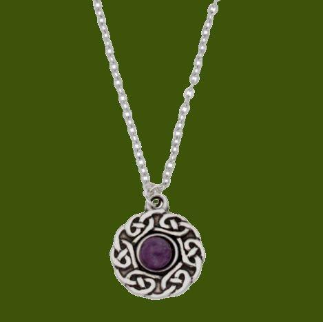 Image 0 of Celtic Knotwork Amethyst Glass Stone Circular Small Stylish Pewter Pendant