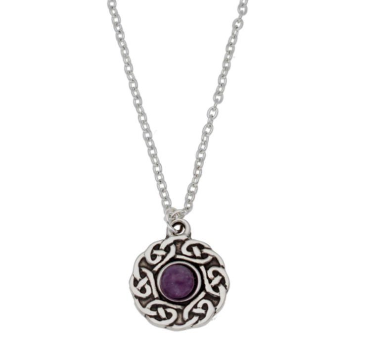 Image 1 of Celtic Knotwork Amethyst Glass Stone Circular Small Stylish Pewter Pendant
