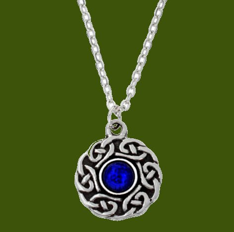 Image 0 of Celtic Knotwork Lapis Lazuli Glass Stone Circular Small Stylish Pewter Pendant