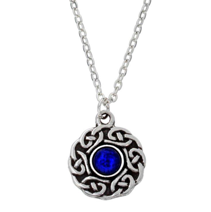 Image 1 of Celtic Knotwork Lapis Lazuli Glass Stone Circular Small Stylish Pewter Pendant