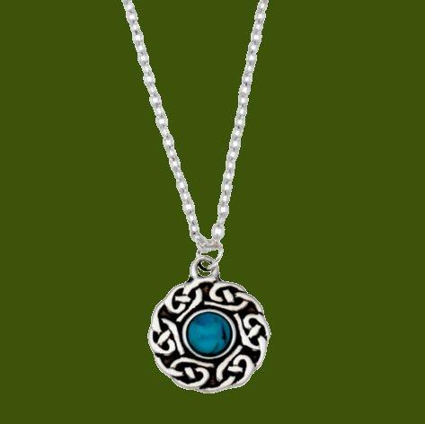 Image 0 of Celtic Knotwork Turquoise Glass Stone Circular Small Stylish Pewter Pendant