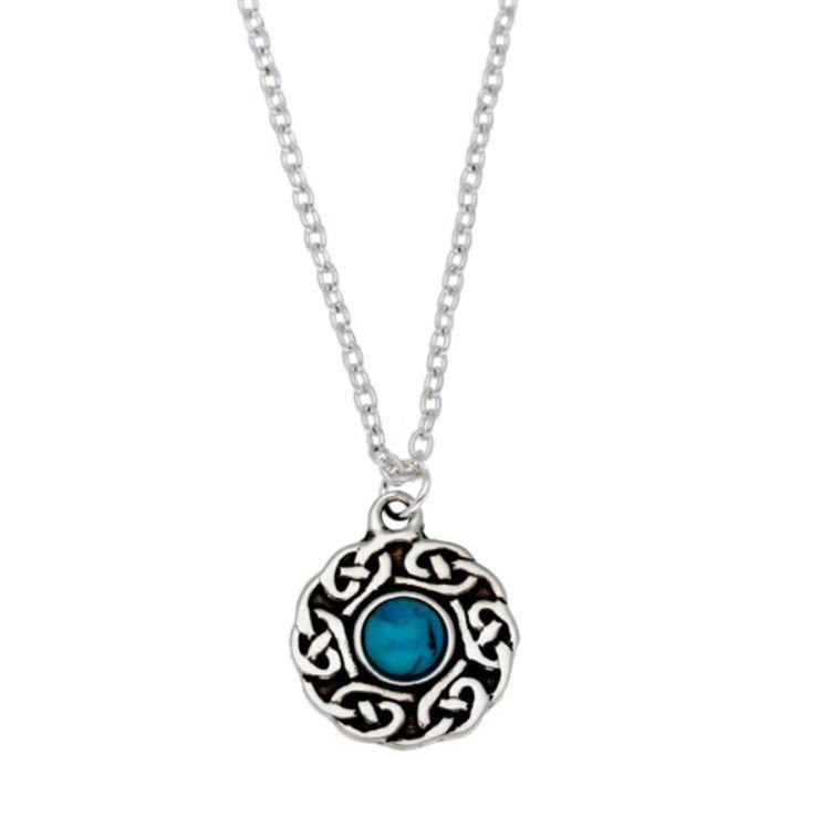 Image 1 of Celtic Knotwork Turquoise Glass Stone Circular Small Stylish Pewter Pendant