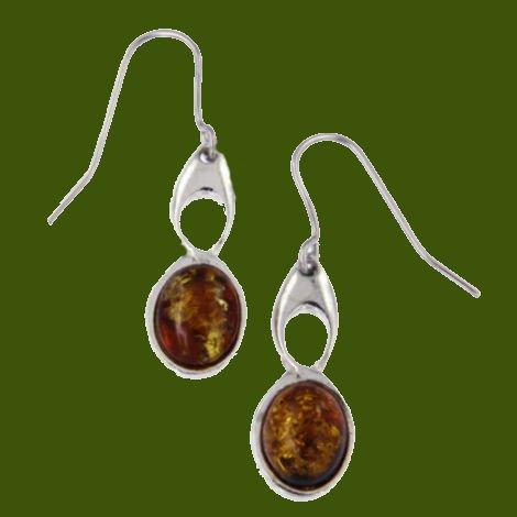 Image 0 of Celtic Bird Knotwork Amber Stylish Pewter Sheppard Hook Earrings