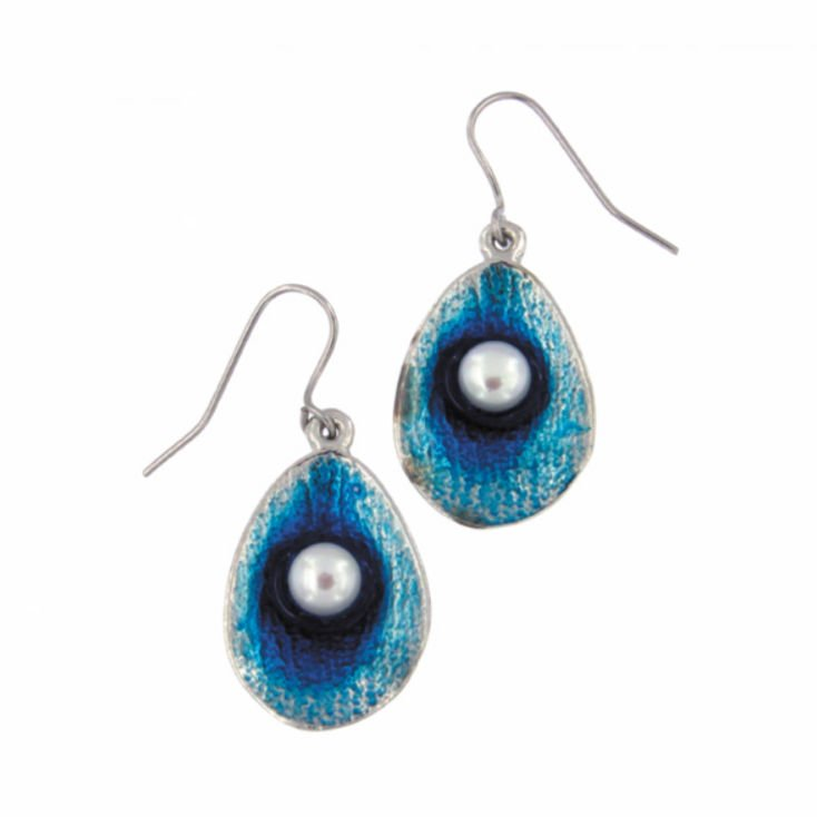 Image 1 of Ocean Blue Enamel Freshwater Pearl Sheppard Hook Stylish Pewter Earrings