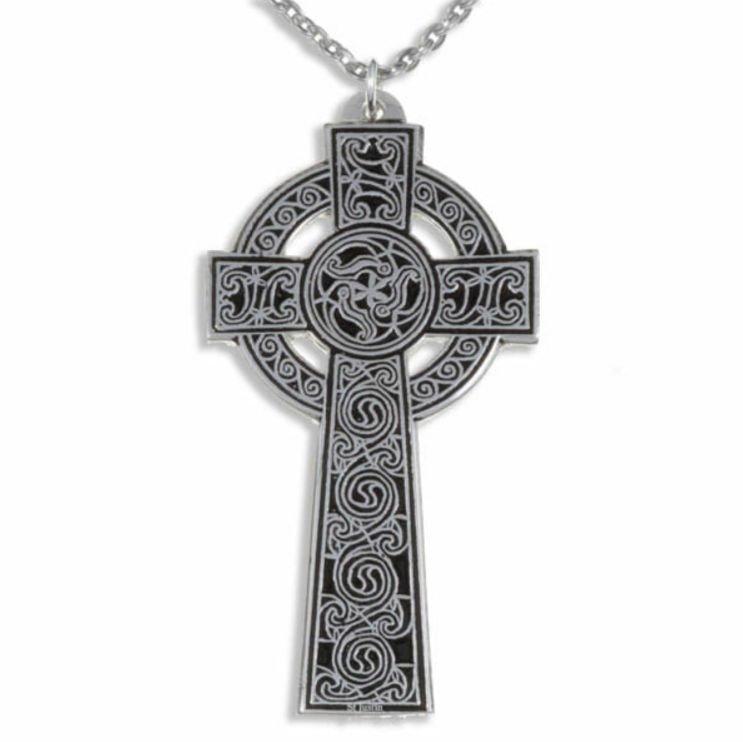 Image 1 of Kaleidoscope Celtic Cross Knotwork Large Stylish Pewter Pendant