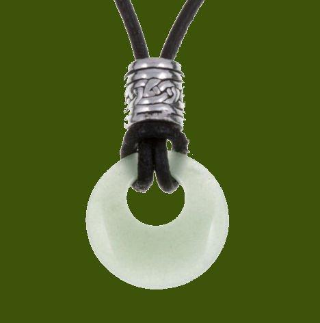 Image 0 of Green Aventurine Circle Celtic Stylish Pewter Toggle Leather Cord Pendant