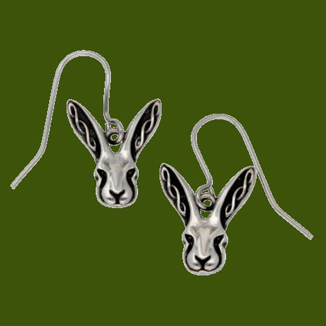 Image 0 of Hare Celtic Knotwork Animal Themed Stylish Pewter Sheppard Hook Earrings