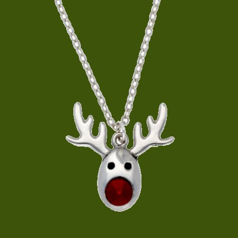 Image 0 of Rudolph Reindeer Red Crystal Christmas Small Stylish Pewter Pendant