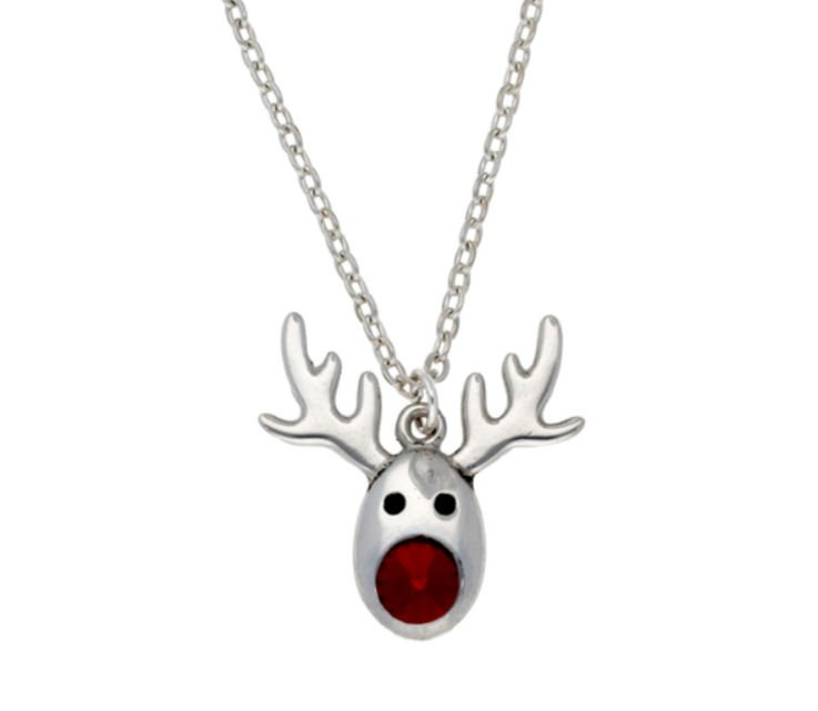 Image 1 of Rudolph Reindeer Red Crystal Christmas Small Stylish Pewter Pendant