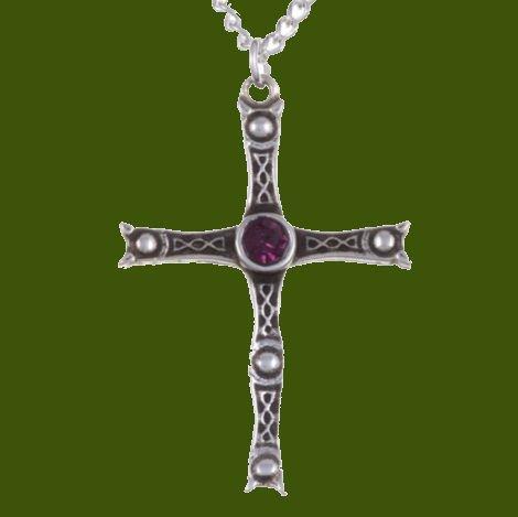 Image 0 of Staffordshire Hoard Cross Purple Crystal Stone Stylish Pewter Pendant