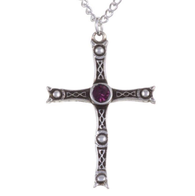 Image 1 of Staffordshire Hoard Cross Purple Crystal Stone Stylish Pewter Pendant