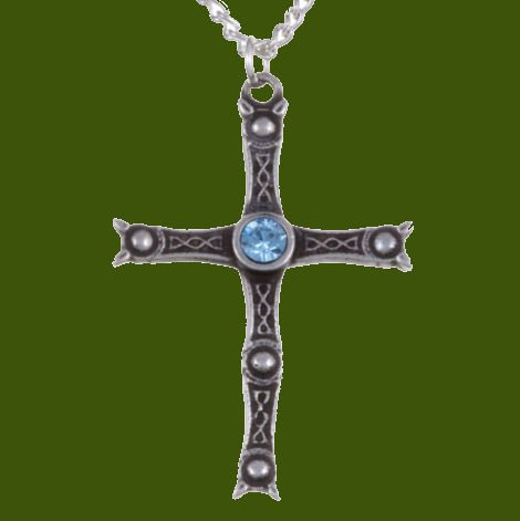 Image 0 of Staffordshire Hoard Cross Aqua Blue Crystal Stone Stylish Pewter Pendant