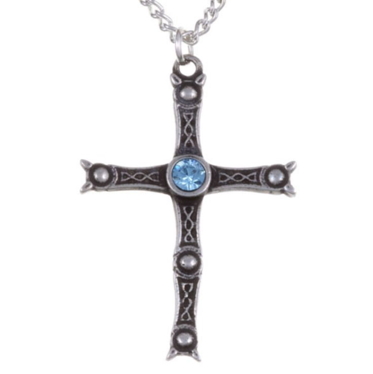 Image 1 of Staffordshire Hoard Cross Aqua Blue Crystal Stone Stylish Pewter Pendant