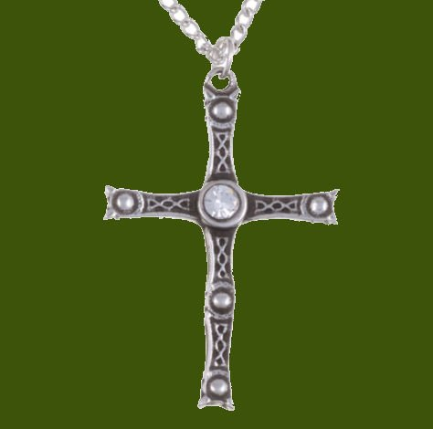 Image 0 of Staffordshire Hoard Cross Clear Crystal Stone Stylish Pewter Pendant