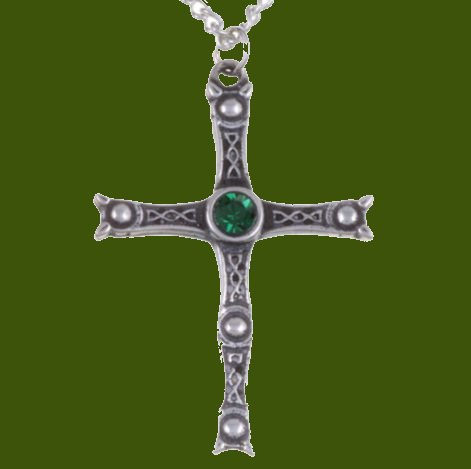 Image 0 of Staffordshire Hoard Cross Emerald Green Crystal Stone Stylish Pewter Pendant