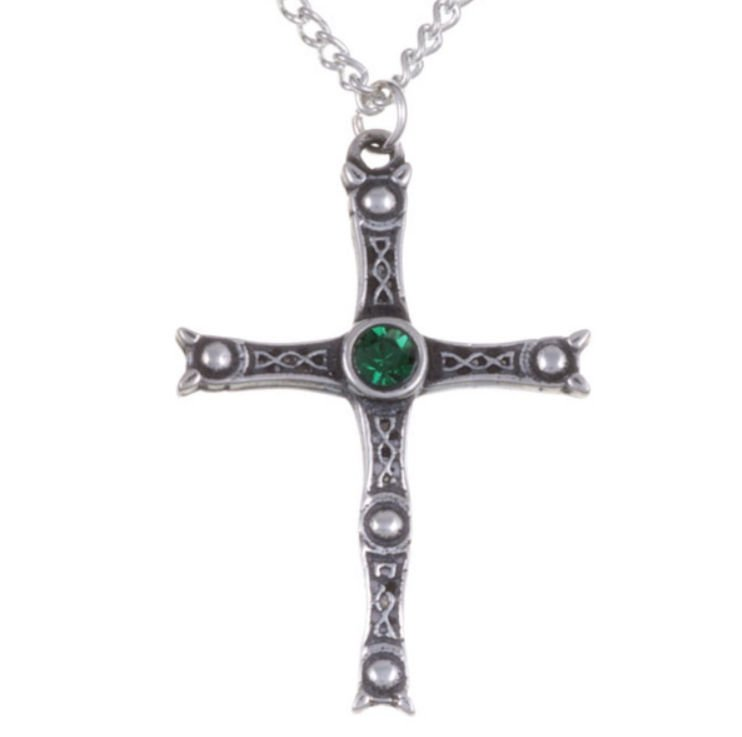 Image 1 of Staffordshire Hoard Cross Emerald Green Crystal Stone Stylish Pewter Pendant