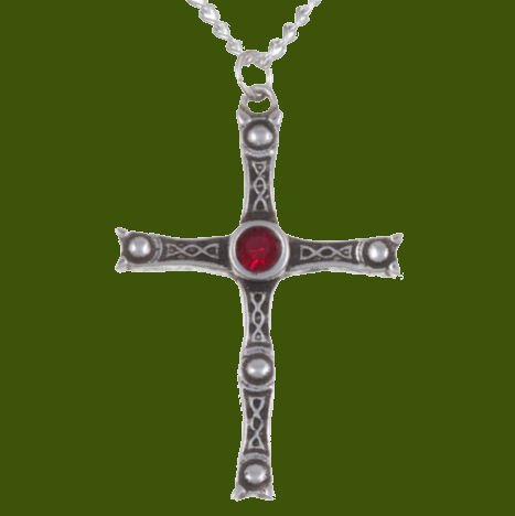 Image 0 of Staffordshire Hoard Cross Ruby Red Crystal Stone Stylish Pewter Pendant