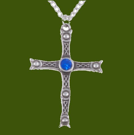 Image 0 of Staffordshire Hoard Cross Sapphire Blue Crystal Stone Stylish Pewter Pendant