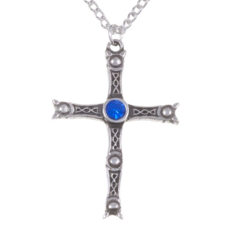 Image 1 of Staffordshire Hoard Cross Sapphire Blue Crystal Stone Stylish Pewter Pendant