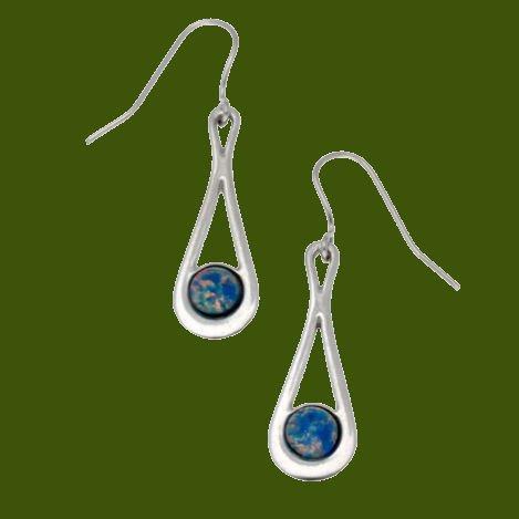 Image 0 of Teardrop Opal Glass Stone Stylish Pewter Sheppard Hook Earrings