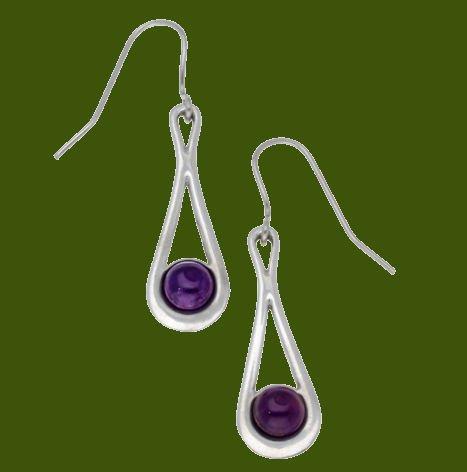 Image 0 of Teardrop Amethyst Glass Stone Stylish Pewter Sheppard Hook Earrings