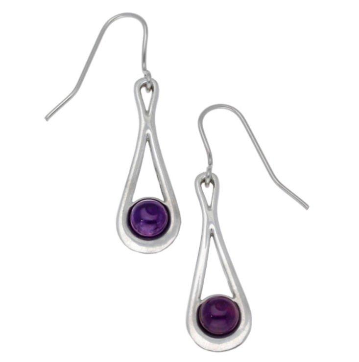 Image 1 of Teardrop Amethyst Glass Stone Stylish Pewter Sheppard Hook Earrings