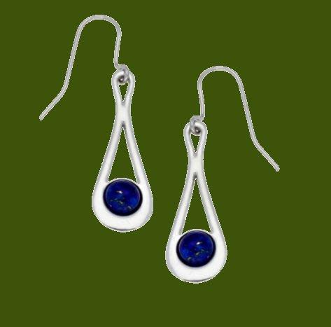 Image 0 of Teardrop Lapis Lazuli Glass Stone Stylish Pewter Sheppard Hook Earrings